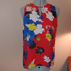 Violet & Claire red floral sleeveless flowy blouse